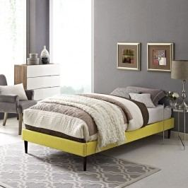 Sherry Twin Fabric Bed Frame with Round Tapered Legs in Sunny