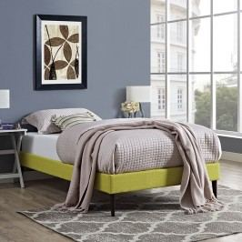 Sherry Twin Fabric Bed Frame with Round Tapered Legs in Wheatgrass