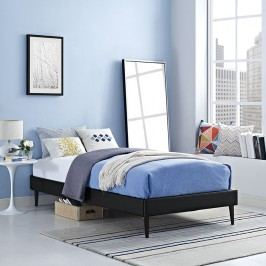 Sherry Twin Vinyl Bed Frame with Round Tapered Legs in Black