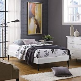 Sherry Twin Vinyl Bed Frame with Round Tapered Legs in White