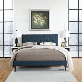 Terisa Full Fabric Platform Bed with Squared Tapered Legs in Azure