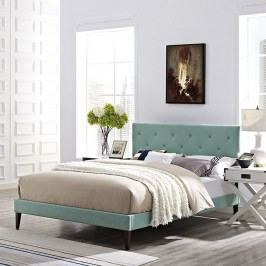 Terisa Full Fabric Platform Bed with Squared Tapered Legs in Laguna