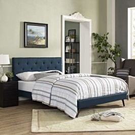 Terisa King Fabric Platform Bed with Round Splayed Legs in Azure