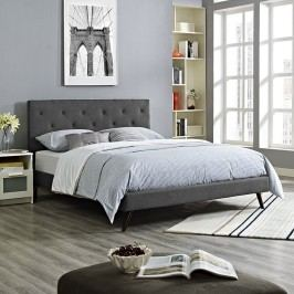 Terisa King Fabric Platform Bed with Round Splayed Legs in Gray