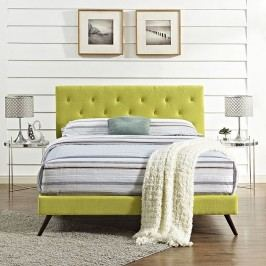 Terisa King Fabric Platform Bed with Round Splayed Legs in Wheatgrass