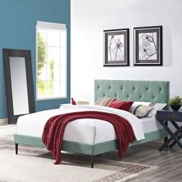 Terisa King Fabric Platform Bed with Round Tapered Legs in Laguna