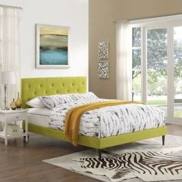 Terisa King Fabric Platform Bed with Round Tapered Legs in Wheatgrass