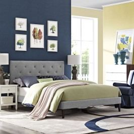 Terisa King Fabric Platform Bed with Squared Tapered Legs in Light Gray