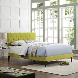 Terisa King Fabric Platform Bed with Squared Tapered Legs in Wheatgrass