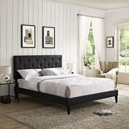 Terisa King Vinyl Platform Bed with Squared Tapered Legs in Black