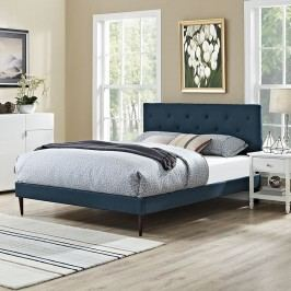 Terisa Queen Fabric Platform Bed with Round Tapered Legs in Azure