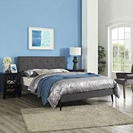 Terisa Queen Fabric Platform Bed with Round Tapered Legs in Gray