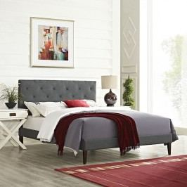 Terisa Queen Fabric Platform Bed with Squared Tapered Legs in Gray