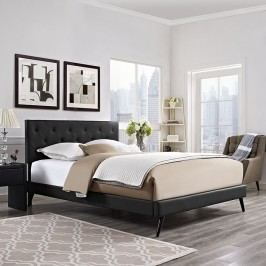 Terisa Queen Vinyl Platform Bed with Round Splayed Legs in Black