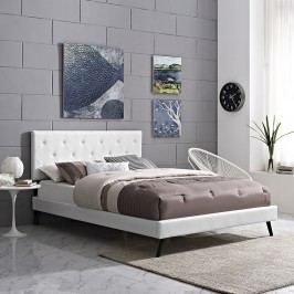 Terisa Queen Vinyl Platform Bed with Round Splayed Legs in White