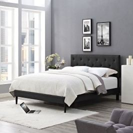 Terisa Queen Vinyl Platform Bed with Round Tapered Legs in Black