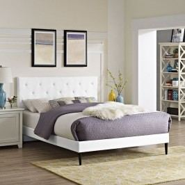 Terisa Queen Vinyl Platform Bed with Round Tapered Legs in White