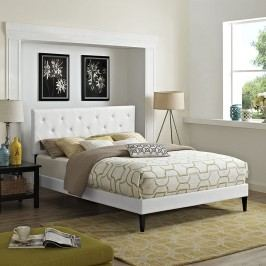 Terisa Queen Vinyl Platform Bed with Squared Tapered Legs in White