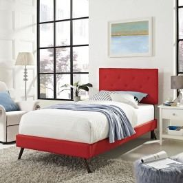 Terisa Twin Fabric Platform Bed with Round Splayed Legs in Atomic Red