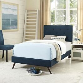 Terisa Twin Fabric Platform Bed with Round Splayed Legs in Azure