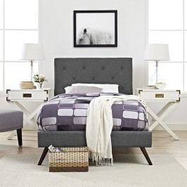 Terisa Twin Fabric Platform Bed with Round Splayed Legs in Gray