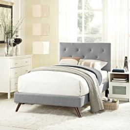 Terisa Twin Fabric Platform Bed with Round Splayed Legs in Light Gray