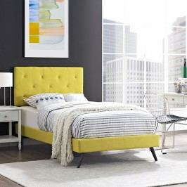 Terisa Twin Fabric Platform Bed with Round Splayed Legs in Sunny