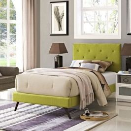 Terisa Twin Fabric Platform Bed with Round Splayed Legs in Wheatgrass
