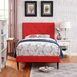 Terisa Twin Fabric Platform Bed with Round Tapered Legs in Atomic Red