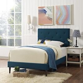 Terisa Twin Fabric Platform Bed with Round Tapered Legs in Azure