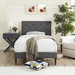 Terisa Twin Fabric Platform Bed with Round Tapered Legs in Gray
