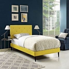 Terisa Twin Fabric Platform Bed with Round Tapered Legs in Sunny