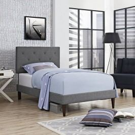 Terisa Twin Fabric Platform Bed with Squared Tapered Legs in Gray
