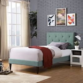 Terisa Twin Fabric Platform Bed with Squared Tapered Legs in Laguna
