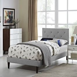 Terisa Twin Fabric Platform Bed with Squared Tapered Legs in Light Gray