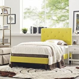 Terisa Twin Fabric Platform Bed with Squared Tapered Legs in Sunny