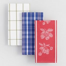 Cotton Jacquard Kitchen Towels, Set of 4 - Red by World Market Red