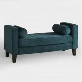 Azure Velvet Taylor Bench with Bolsters - Fabric by World Market