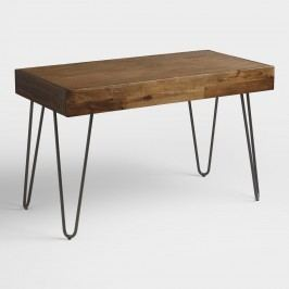 Wood and Black Metal Flynn Hairpin Desk by World Market