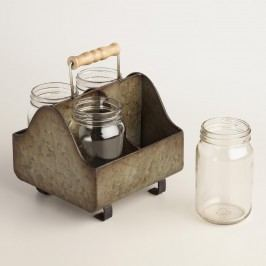 Zinc Metal Caddy with Glass Jars by World Market