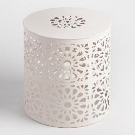 White Punched Metal Soleil Drum Stool by World Market