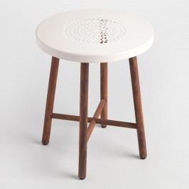 White Metal and Wood Tristan Stool by World Market