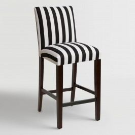 Canopy Stripe Kerri Upholstered Barstool: Black/White - Fabric by World Market