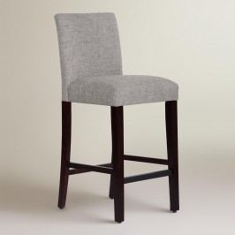 Linen Blend Kerri Upholstered Barstool: Gray - Fabric - Pumice by World Market Pumice