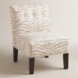 Gray Print Randen Upholstered Chair with Wood Legs: Gray/Natural - Fabric - Snowleopard by World Market Snowleopard