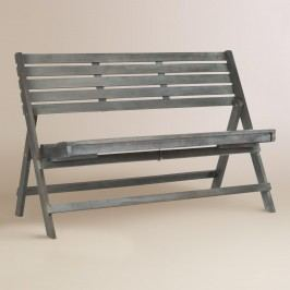Ash Gray Wood Outdoor Patio Folding Bench by World Market