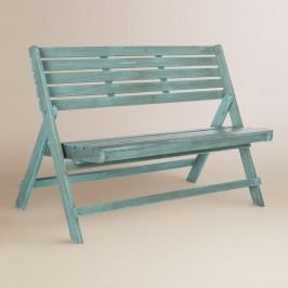 Sea Blue Wood Outdoor Patio Folding Bench by World Market