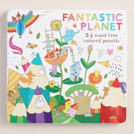 Fantastic Planet Wood Free Colored Pencils Set of 24 by World Market
