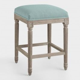 Blue Linen Paige Backless Counter Stool - Fabric by World Market