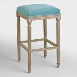 Peacock Paige Backless Barstool: Blue - Fabric by World Market